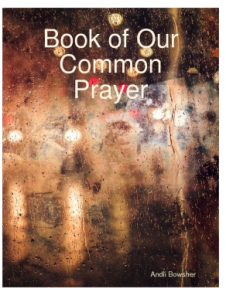 background of difused lights and people seen through distorting glass. Book title overlaid